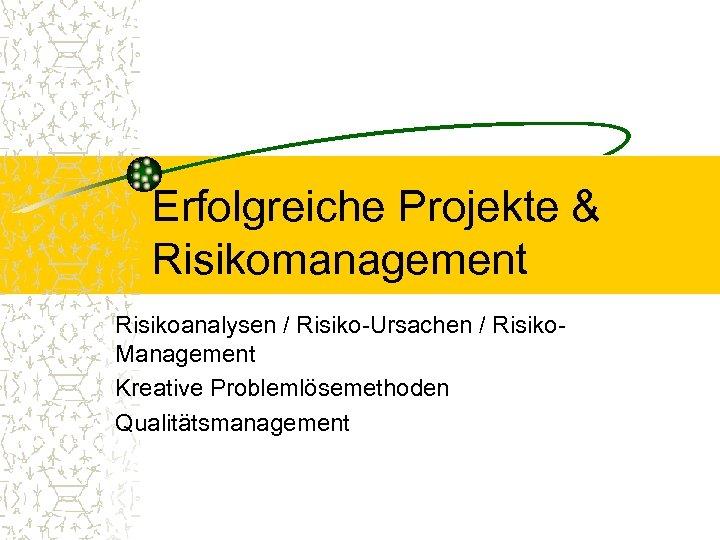 Erfolgreiche Projekte & Risikomanagement Risikoanalysen / Risiko-Ursachen / Risiko. Management Kreative Problemlösemethoden Qualitätsmanagement