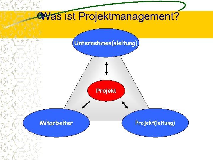 Was ist Projektmanagement? Unternehmen(sleitung) Projekt Mitarbeiter Projekt(leitung)