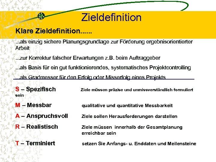 Zieldefinition Klare Zieldefinition. . als einzig sichere Planungsgrundlage zur Förderung ergebnisorientierter Arbeit. . .