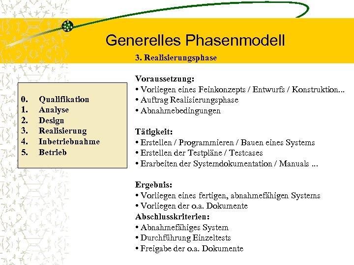 Generelles Phasenmodell 3. Realisierungsphase 0. 1. 2. 3. 4. 5. Qualifikation Analyse Design Realisierung