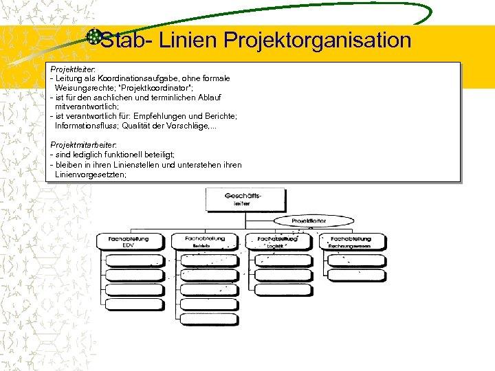 """Stab- Linien Projektorganisation Projektleiter: - Leitung als Koordinationsaufgabe, ohne formale Weisungsrechte; """"Projektkoordinator""""; - ist"""