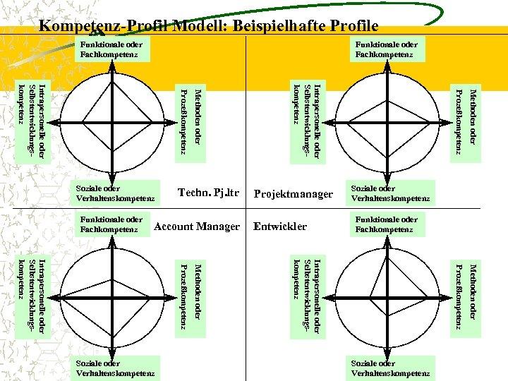 Kompetenz-Profil Modell: Beispielhafte Profile Funktionale oder Fachkompetenz Methoden oder Soziale oder Verhaltenskompetenz Funktionale oder