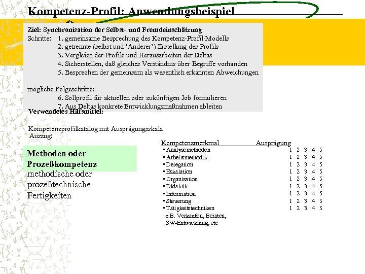 Kompetenz-Profil: Anwendungsbeispiel Ziel: Synchronisation der Selbst- und Fremdeinschätzung Schritte: 1. gemeinsame Besprechung des Kompetenz-Profil-Modells