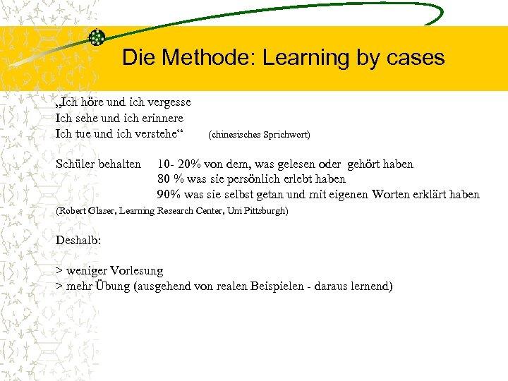 """Die Methode: Learning by cases """"Ich höre und ich vergesse Ich sehe und ich"""