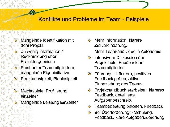 Konflikte und Probleme im Team - Beispiele Mangelnde Identifikation mit dem Projekt Zu wenig