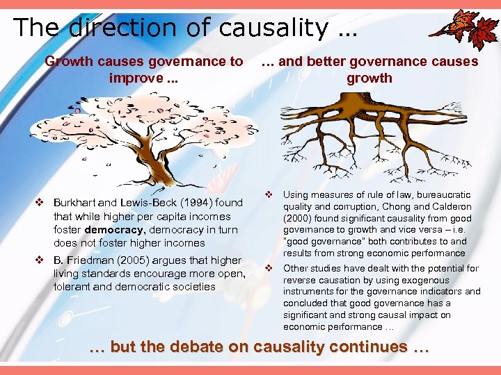 The direction of causality … Growth causes governance to … and better governance causes