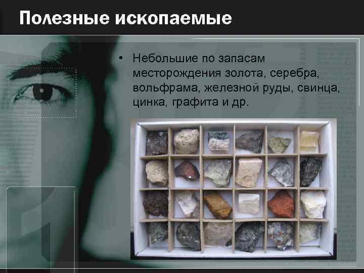 Полезные ископаемые • Небольшие по запасам месторождения золота, серебра, вольфрама, железной руды, свинца, цинка,