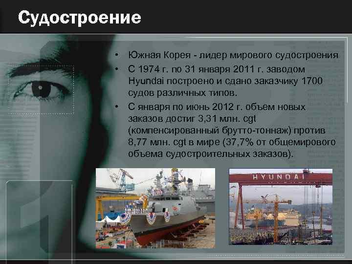 Судостроение • Южная Корея - лидер мирового судостроения • C 1974 г. по 31