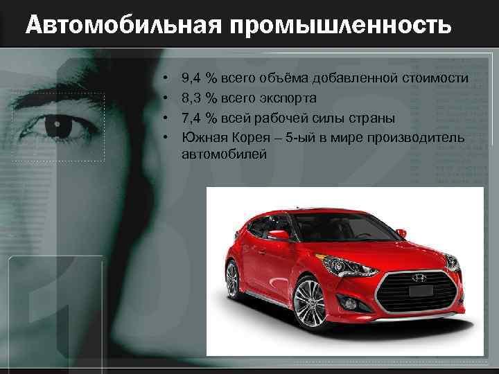 Автомобильная промышленность • • 9, 4 % всего объёма добавленной стоимости 8, 3 %