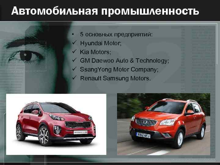 Автомобильная промышленность • ü ü ü 5 основных предприятий: Hyundai Motor; Kia Motors; GM
