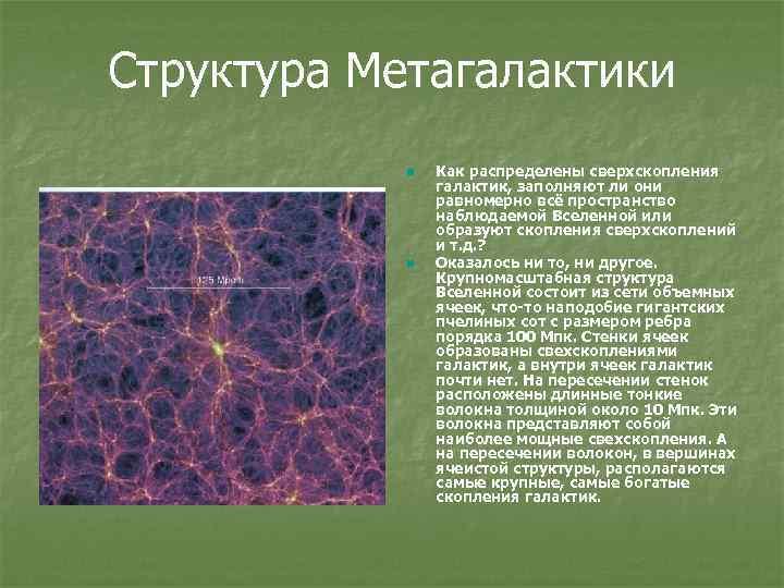 Структура Метагалактики n n Как распределены сверхскопления галактик, заполняют ли они равномерно всё пространство