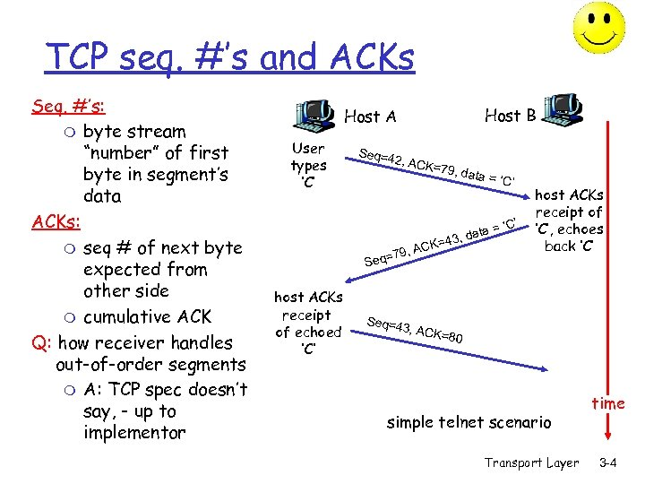 """TCP seq. #'s and ACKs Seq. #'s: m byte stream """"number"""" of first byte"""