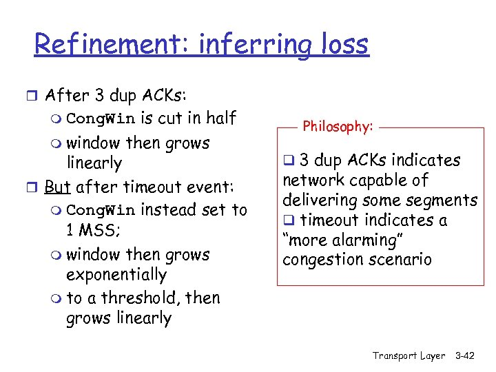 Refinement: inferring loss r After 3 dup ACKs: m Cong. Win m window is