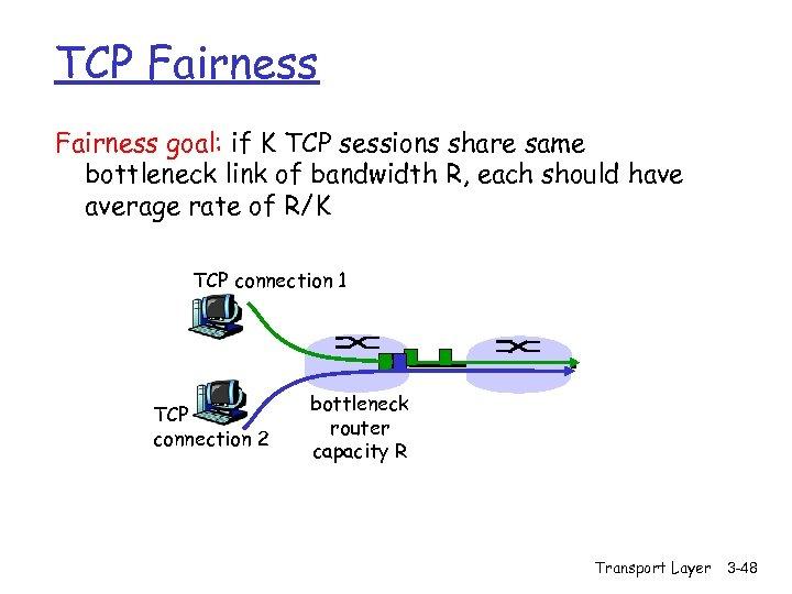 TCP Fairness goal: if K TCP sessions share same bottleneck link of bandwidth R,