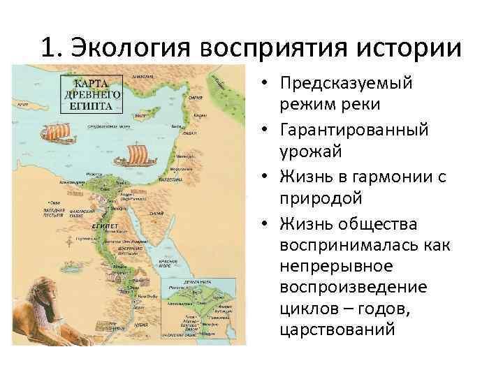 1. Экология восприятия истории • Предсказуемый режим реки • Гарантированный урожай • Жизнь в