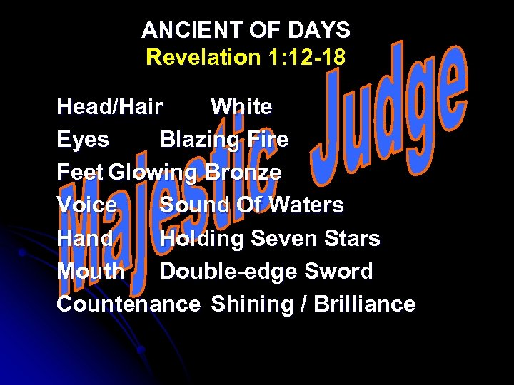 ANCIENT OF DAYS Revelation 1: 12 -18 Head/Hair White Eyes Blazing Fire Feet Glowing