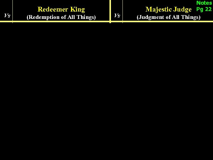 Vs Redeemer King (Redemption of All Things) Vs Majestic Judge Notes Pg 22 (Judgment