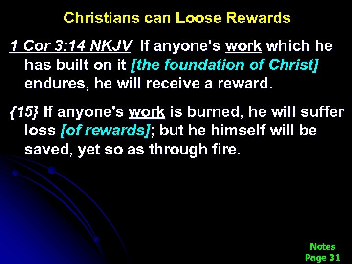 Christians can Loose Rewards 1 Cor 3: 14 NKJV If anyone's work which he