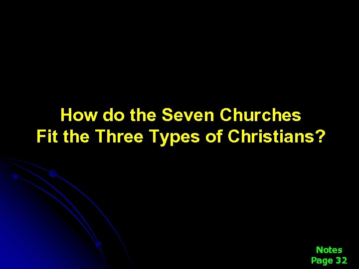 How do the Seven Churches Fit the Three Types of Christians? Notes Page 32