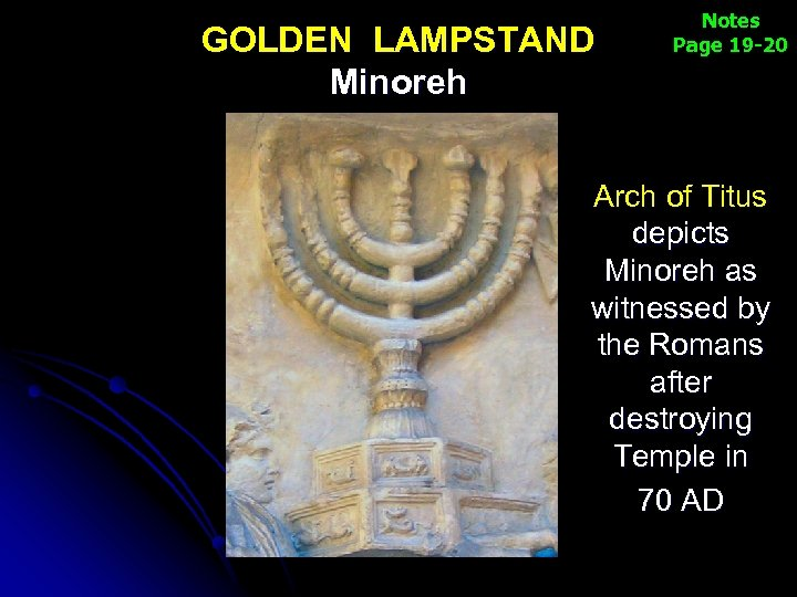 GOLDEN LAMPSTAND Minoreh Notes Page 19 -20 Arch of Titus depicts Minoreh as witnessed