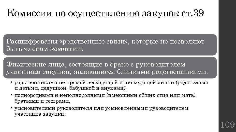 Комиссии по осуществлению закупок ст. 39 Расшифрованы «родственные связи» , которые не позволяют быть