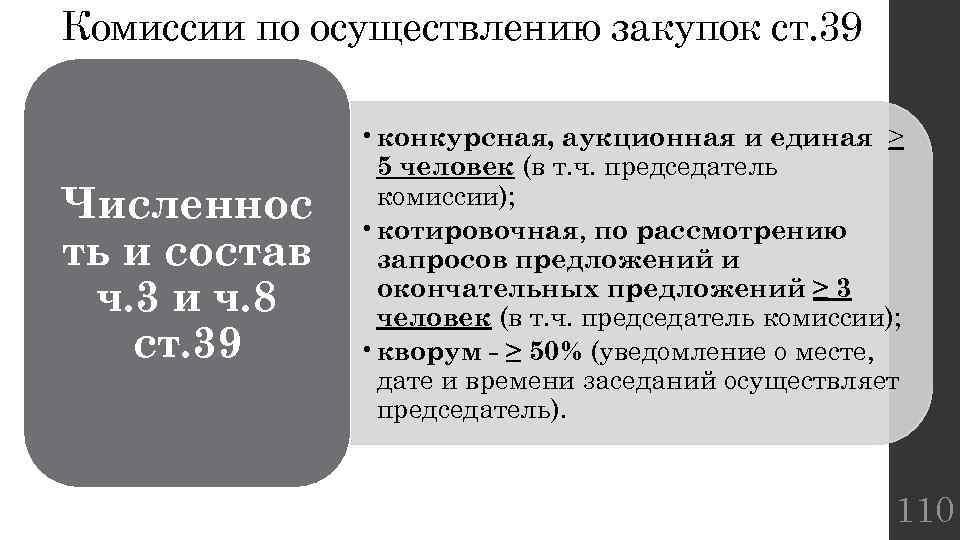 Комиссии по осуществлению закупок ст. 39 Численнос ть и состав ч. 3 и ч.