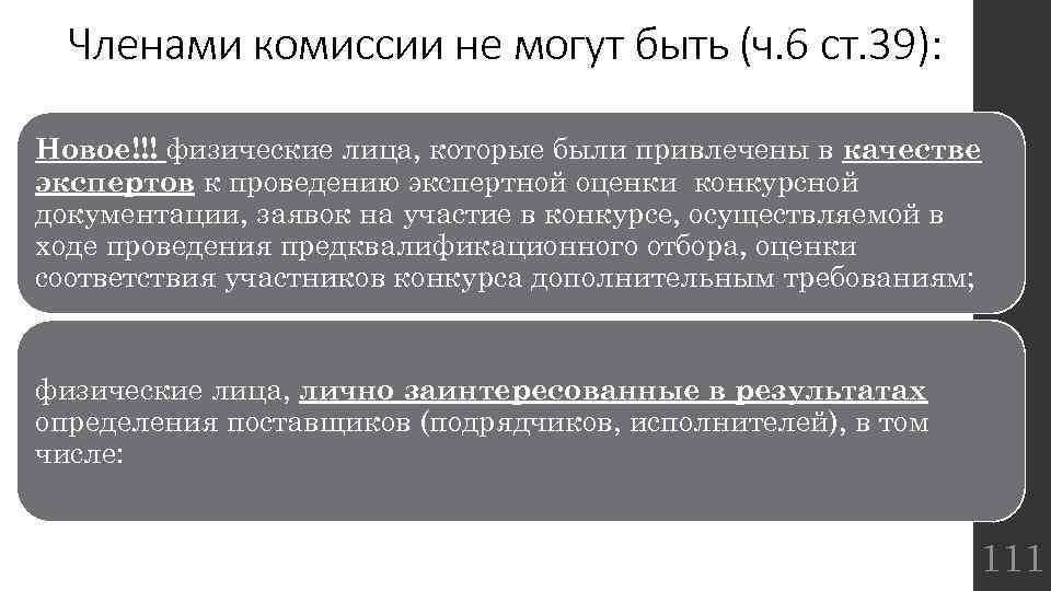 Членами комиссии не могут быть (ч. 6 ст. 39): Новое!!! физические лица, которые были