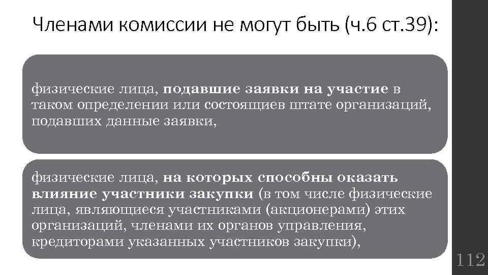 Членами комиссии не могут быть (ч. 6 ст. 39): физические лица, подавшие заявки на