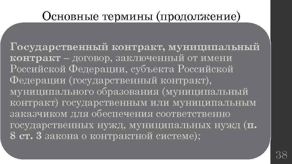 Основные термины (продолжение) Государственный контракт, муниципальный контракт – договор, заключенный от имени Российской Федерации,