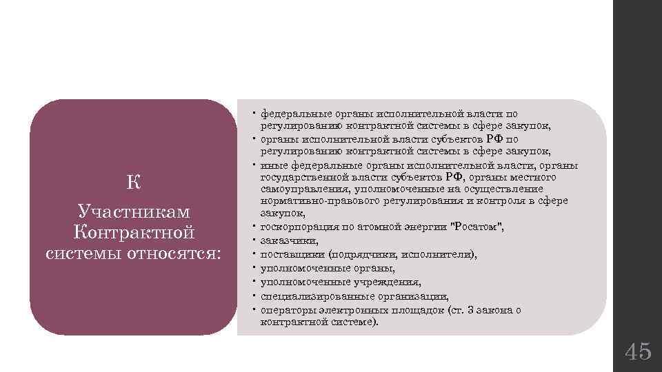 К Участникам Контрактной системы относятся: • федеральные органы исполнительной власти по регулированию контрактной системы
