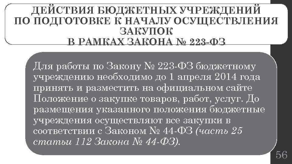 ДЕЙСТВИЯ БЮДЖЕТНЫХ УЧРЕЖДЕНИЙ ПО ПОДГОТОВКЕ К НАЧАЛУ ОСУЩЕСТВЛЕНИЯ ЗАКУПОК В РАМКАХ ЗАКОНА № 223