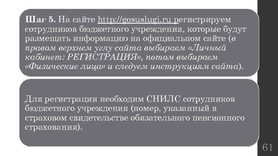 Шаг 5. На сайте http: //gosuslugi. ru регистрируем сотрудников бюджетного учреждения, которые будут размещать