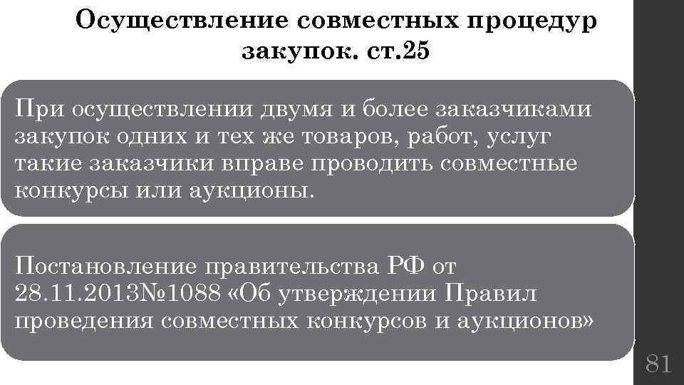 Осуществление совместных процедур закупок. ст. 25 При осуществлении двумя и более заказчиками закупок одних