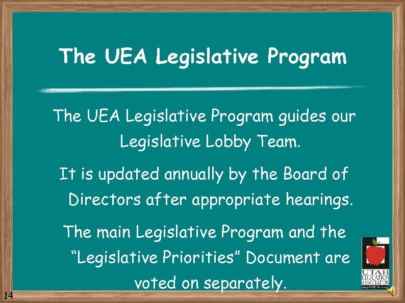 The UEA Legislative Program guides our Legislative Lobby Team. It is updated annually by