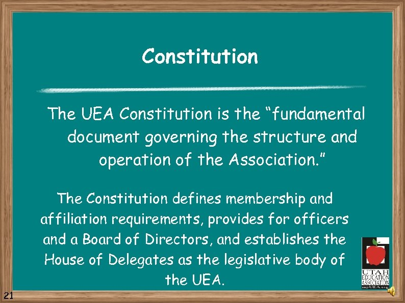 "Constitution The UEA Constitution is the ""fundamental document governing the structure and operation of"