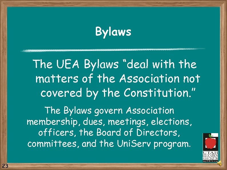 "Bylaws The UEA Bylaws ""deal with the matters of the Association not covered by"