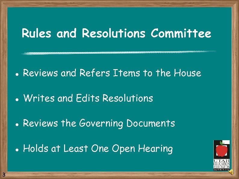Rules and Resolutions Committee l l Writes and Edits Resolutions l Reviews the Governing