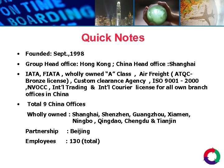 Quick Notes • Founded: Sept. , 1998 • Group Head office: Hong Kong ;