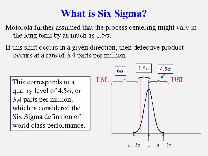 What is Six Sigma? Motorola further assumed that the process centering might vary in