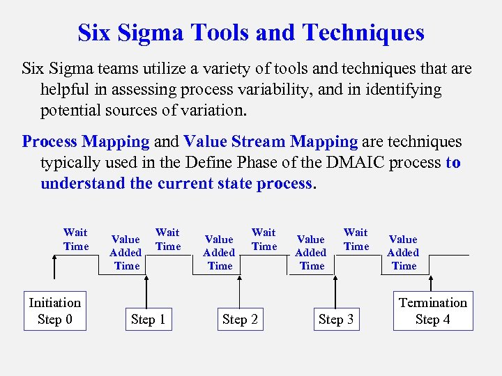 Six Sigma Tools and Techniques Six Sigma teams utilize a variety of tools and