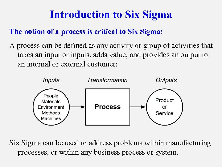 Introduction to Six Sigma The notion of a process is critical to Six Sigma: