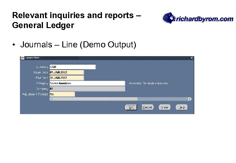 Relevant inquiries and reports – General Ledger • Journals – Line (Demo Output)