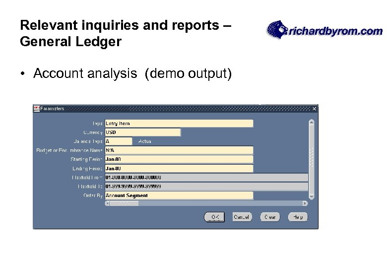 Relevant inquiries and reports – General Ledger • Account analysis (demo output)