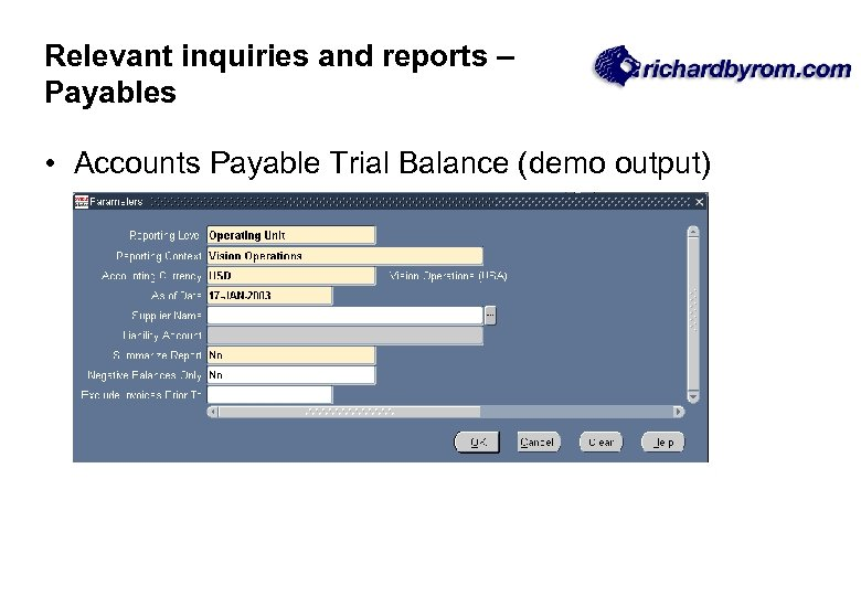 Relevant inquiries and reports – Payables • Accounts Payable Trial Balance (demo output)