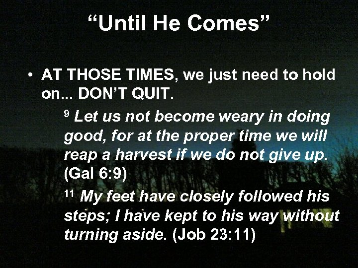 """Until He Comes"" • AT THOSE TIMES, we just need to hold on. ."