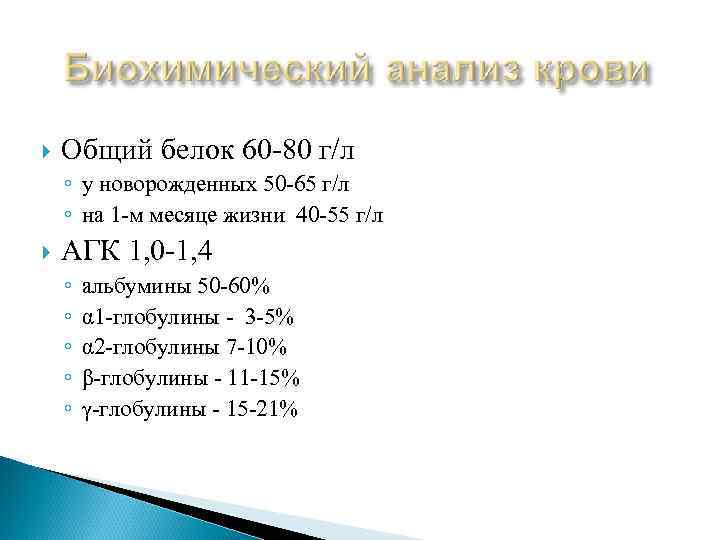 Общий белок 60 -80 г/л ◦ у новорожденных 50 -65 г/л ◦ на