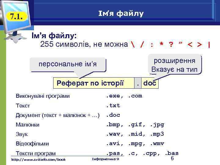 Ім файлу 'я 7. 1. Ім'я файлу: 255 символів, не можна  / :