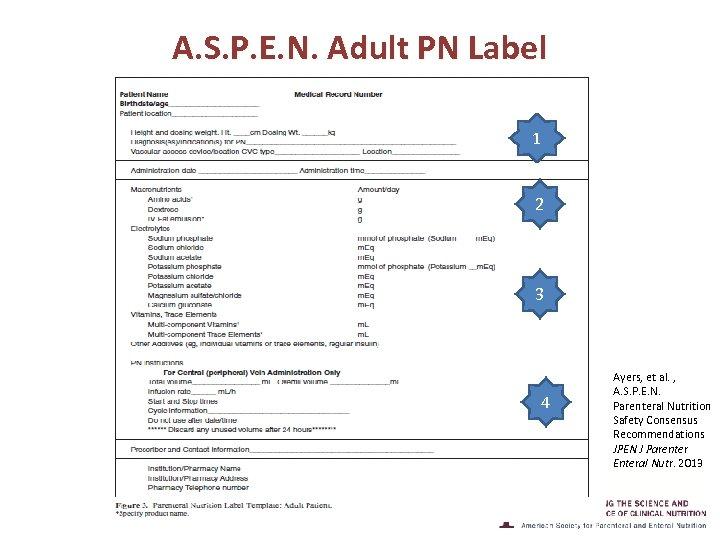 A. S. P. E. N. Adult PN Label 1 2 3 4 Ayers, et