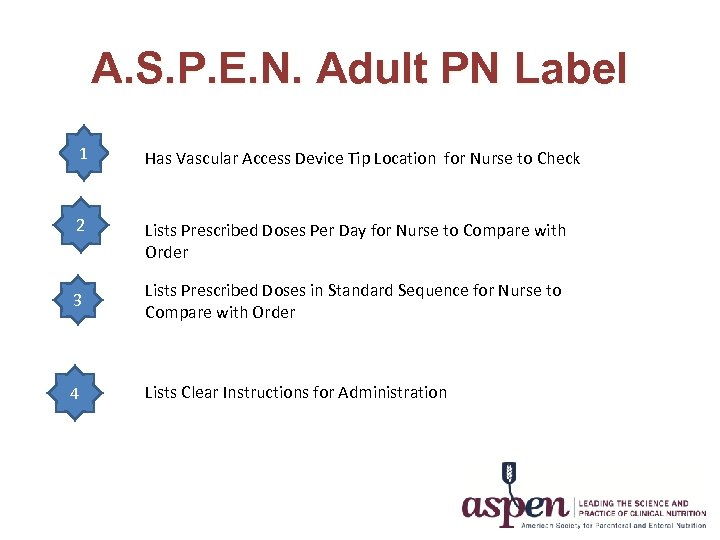 A. S. P. E. N. Adult PN Label 1 Has Vascular Access Device Tip
