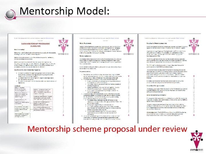 Mentorship Model: Mentorship scheme proposal under review